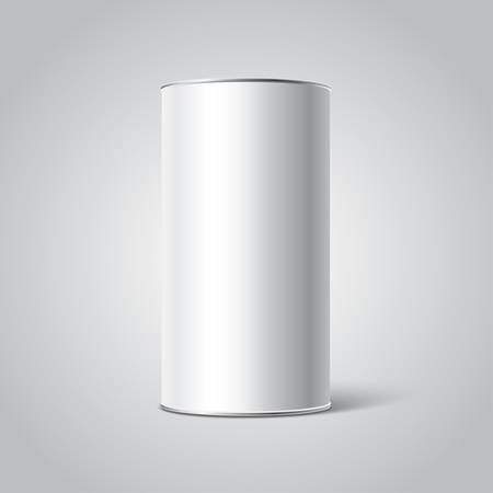 cilindro: Maqueta de White envases Tincan en blanco. Té, café, productos secos, caja de regalo. Coloca el diseño Vectores