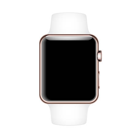 strap on: Smart Watch Mock-up with white strap and Rose Gold case