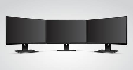 computer screens: Three Computer Monitors with Ultra-thin display border with blank screen Mockup