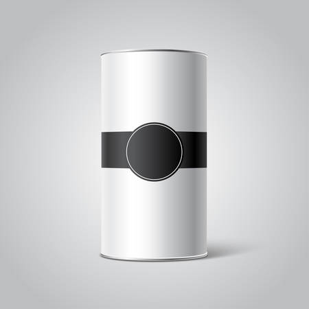 tincan: White Blank Tincan packaging mockup with black Tag on gray background, label. Place your design Illustration