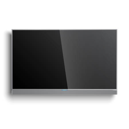 Smart TV Mockup with sound bar hanging on the wall
