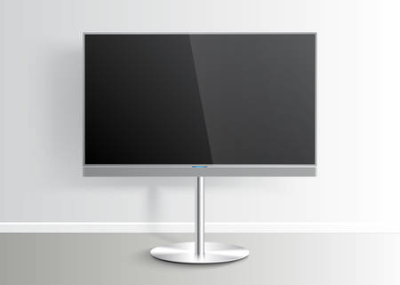 display stand: Flat Smart TV with blank screen on the Floor Stand, room, lcd display, realistic vector Mockup