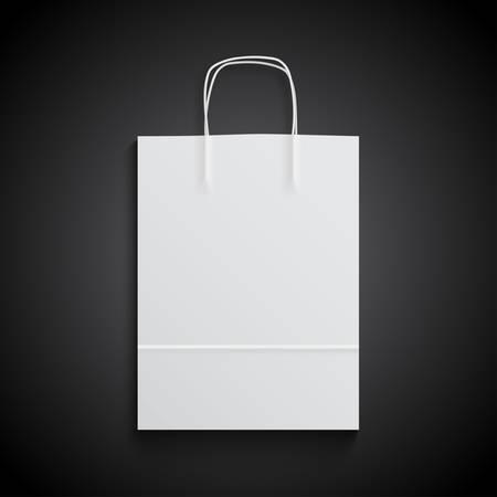 White paper bag mockup with handles for branding on black background