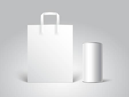 tincan: White paper bag mockup with white Blank Tincan packaging