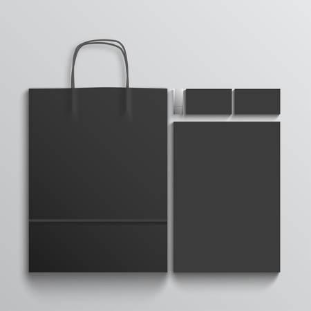 Black branding elements on white background. Mockup