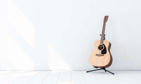 Acoustic Guitar Mockup on Stand in white empty room