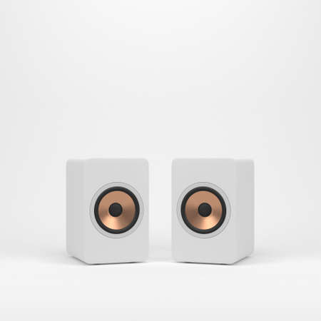 Two wooden white speakers with golden speaker driver
