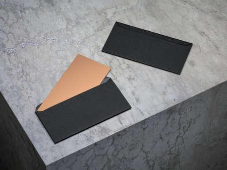Golden invitation mockup in open black envelope on concrete floor Stock Photo - 108120259