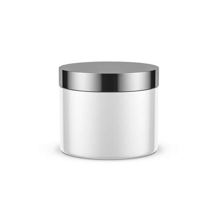 White cylindrical jar mockup for cosmetics with chrome cap