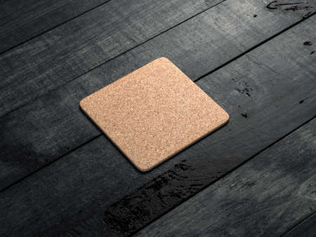 Cork pad, beer coaster Mockup on the wooden table