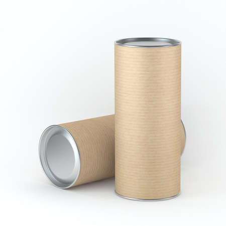Two tall kraft cardboard Tin can packaging mockup for Tea, coffee, dry products, gift box. Place your design