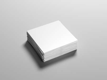 Stack of square flyer mockup, white sheet of paper