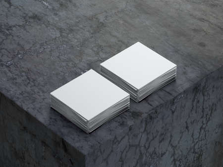 Two stacks of white square paper sheets mockup on concrete cube