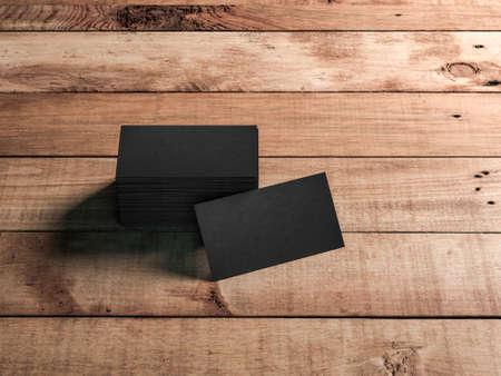 Black Business card Mockup with stack of cards on wooden floor or table Reklamní fotografie