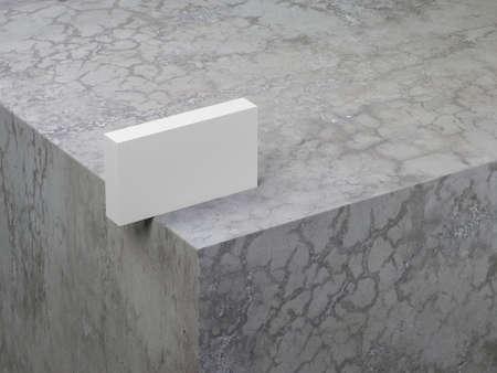 Stack of White Business Cards Mockup on the concrete cube Reklamní fotografie