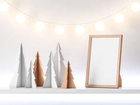 Vertical Poster Frame mockup with Christmas Trees and garland lamps
