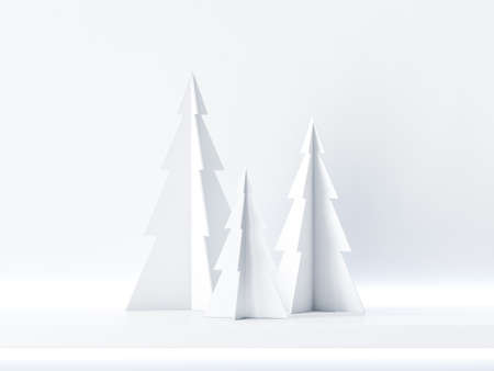Three christmas tree on white shelf, background for greeting card