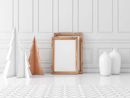 Wooden photo poster frame Mockup on the floor with christmas trees