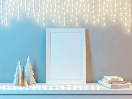 Poster Frame Vertical with Christmas Trees and garland lamps Reklamní fotografie