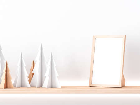 Wooden photo frame Mockup on shelf with paper christmas trees