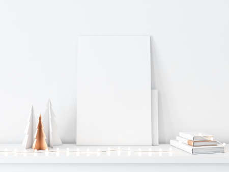 Vertical Canvas with Paper Christmas Trees and garland lamps Reklamní fotografie