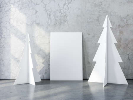 Vertical Poster Canvas Mockup with two christmas tree in concrete interior