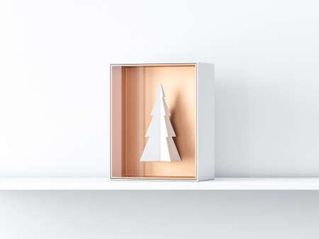 White paper christmas tree in gift box presentation Reklamní fotografie
