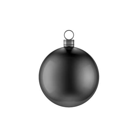 Black christmas ball mockup for new year tree, isolated on white