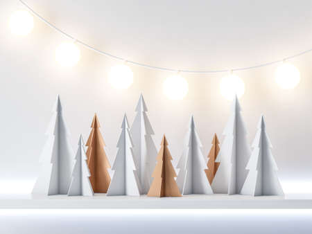 White and gold Paper Christmas Tree forest with garland light, greeting card background Reklamní fotografie
