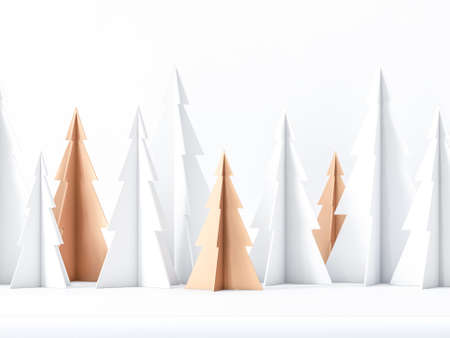 White and gold Paper Christmas Trees greeting card background