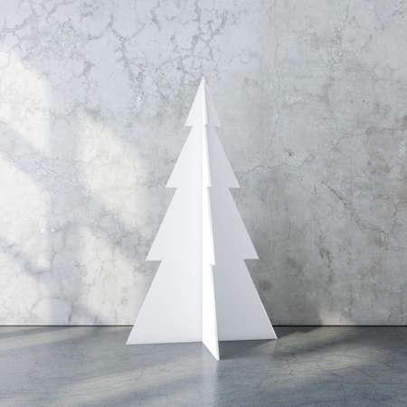 White Christmas Tree in rmpty concrete room