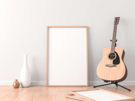 Poster Frame Mockup in modern interior with Acoustic Guitar near wall