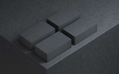 Four stacks of Black Business cards on cube Reklamní fotografie