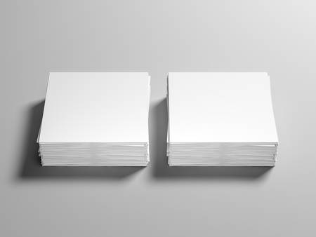 Two stacks of square paper sheets mockup on gray background