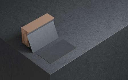 Black business cards mockup with golden foil on the edges Reklamní fotografie