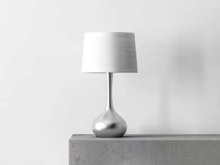 Stylish table lamp in white room