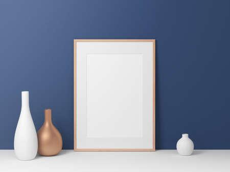 Poster Frame mockup, blue wall background