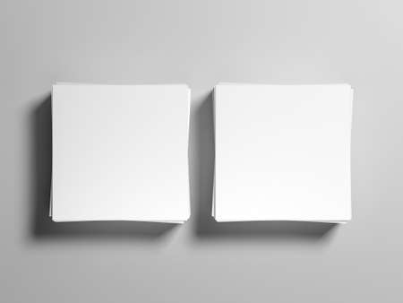 Two stacks of square paper sheets mockup
