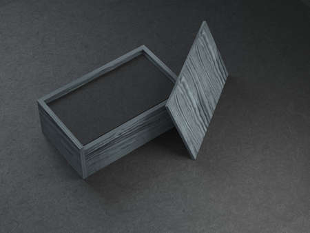 Stack of Black business cards mockup in wooden box