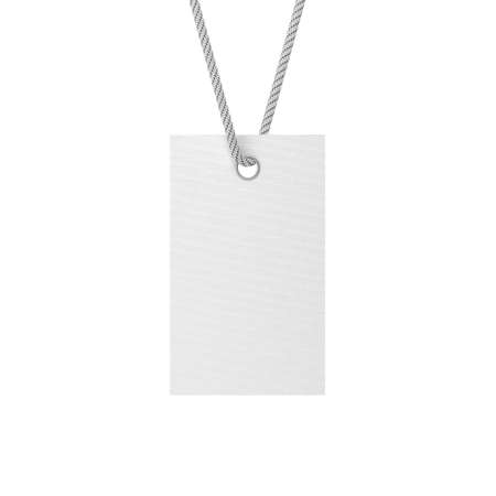 White Blank tag label Mockup tied on rope, show your price or discount, isolated on white