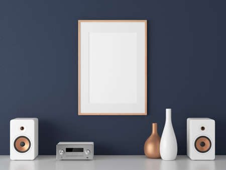 Poster with wooden Frame Mockup and Micro Component stereo System on white shelf Reklamní fotografie