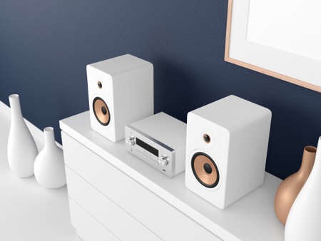 Micro Hi Fi stereo system Mockup on bureau in modern interior, Network receiver, cd and mp3 player
