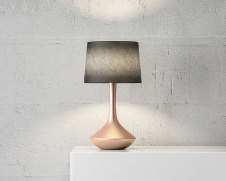 Stylish table lamp mockup with black shade and gold stand on white table Reklamní fotografie