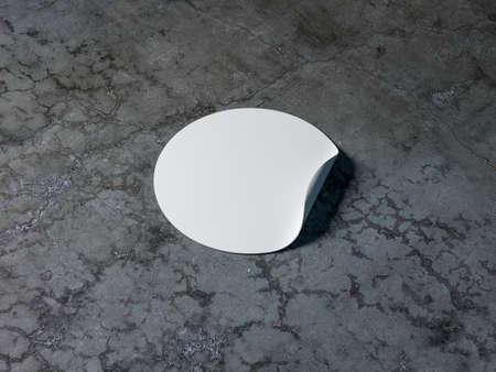 Blank white round adhesive sticker mockup on concrete table Reklamní fotografie