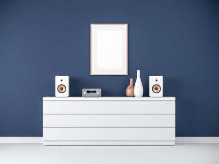 Poster Frame Mockup on bureau in modern interior, Micro hi fi stereo System Reklamní fotografie