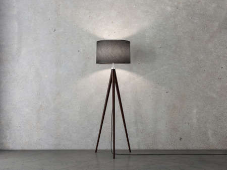 Black Floor lamp on tripod in empty room