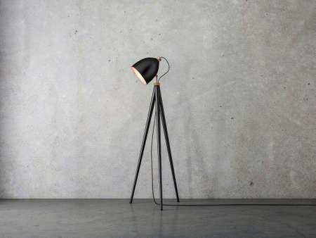 Modern Floor lamp on tripod in empty room