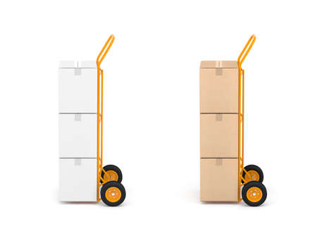 Two Hand Trucks with white and brown cardboard boxes on white background