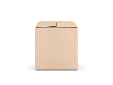 Square cardboard box mock up isolated on white