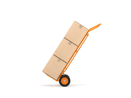 Orange Hand Truck with three cardboard boxes isolated on white